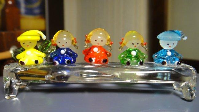 可愛的玻璃五小娃